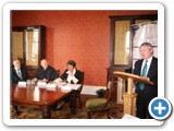 01 St Mel's Cathedral Project Committee Chairperson Seamus Butler addresses the press gathering