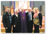 15 Bernadette and Michael Wall, their son Micheal and his fiancée Sharon McDermott, with Bishop Colm